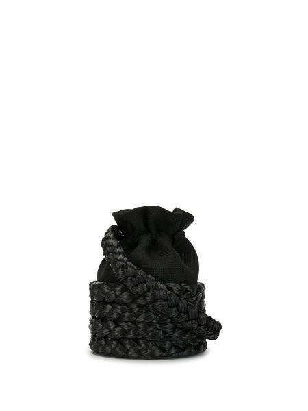 Плетеная черная сумка среднего размера на шнурках 0711