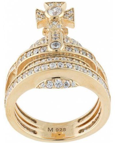 Biały złoty pierścionek pozłacany Vivienne Westwood