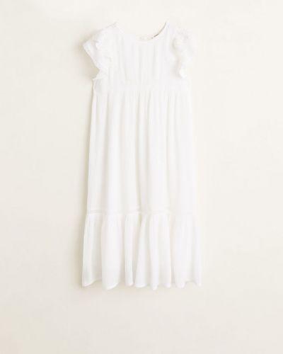 Платье однотонное белое Mango Kids