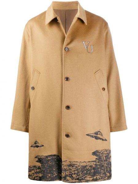 Z kaszmiru brązowy płaszcz z długimi rękawami Undercover