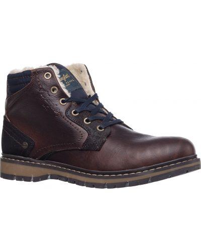 Коричневые кожаные ботинки с подкладкой Wrangler