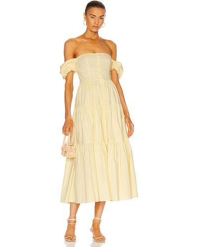 Хлопковое платье - желтое Staud