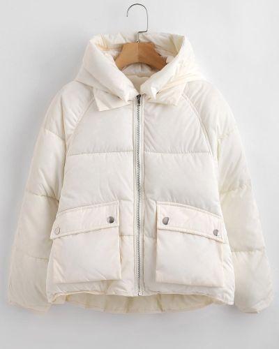 Куртка с капюшоном стеганая с карманами Zaful