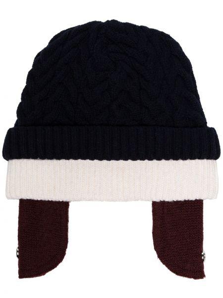 Prążkowany niebieski czapka beanie wełniany Sunnei