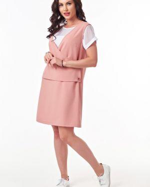 Летнее платье розовое с запахом Taiga