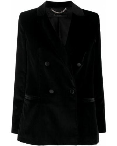 Черный удлиненный пиджак двубортный на пуговицах Federica Tosi