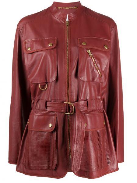Кожаная куртка на молнии - красная Escada Sport