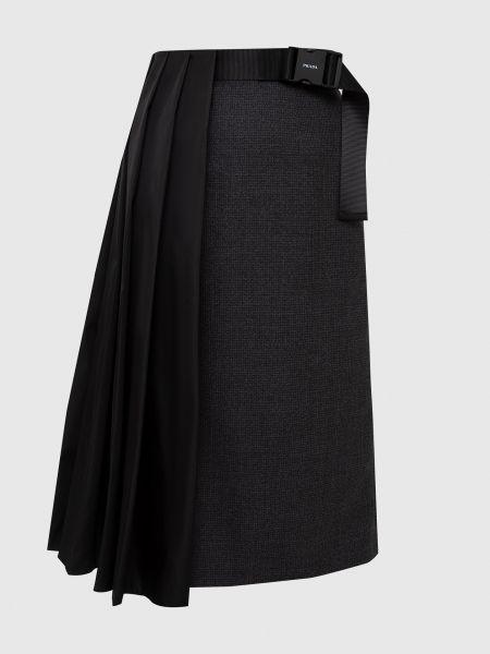 Серая комбинированная юбка Prada
