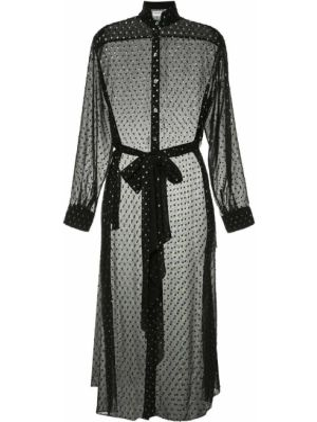 Czarna sukienka długa z długimi rękawami z siateczką Osman