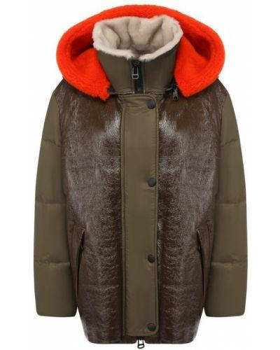 Куртка из овчины - зеленая Army Yves Salomon