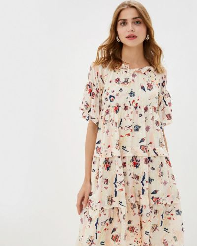 Платье с открытыми плечами бежевое Danmaralex