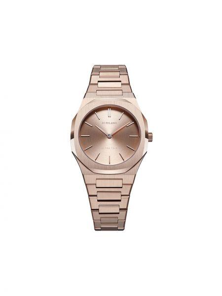 Różowy zegarek okrągły pozłacany z szafirem D1 Milano