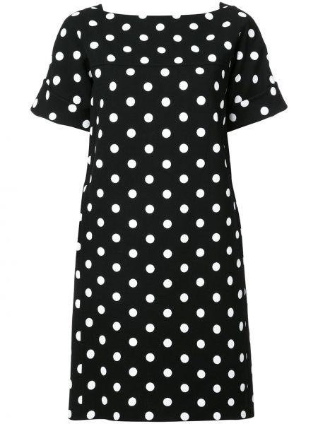 Черное прямое платье мини с вырезом на молнии Oscar De La Renta