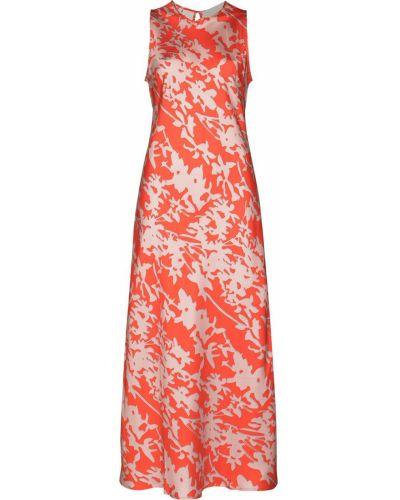 Шелковое красное платье миди без рукавов Asceno
