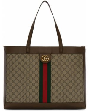 Brezentowy brązowy torba na ramię prążkowany Gucci