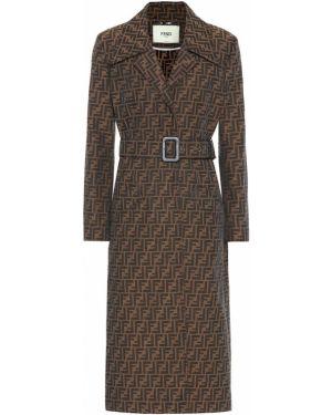 Коричневое парусиновое кожаное пальто с поясом Fendi