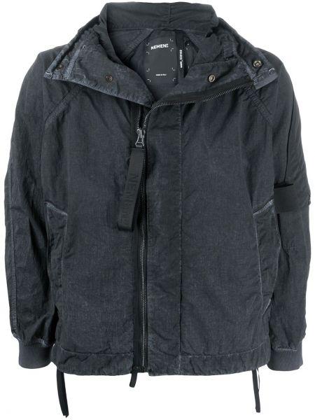 С рукавами классическая нейлоновая черная куртка с капюшоном Nemen