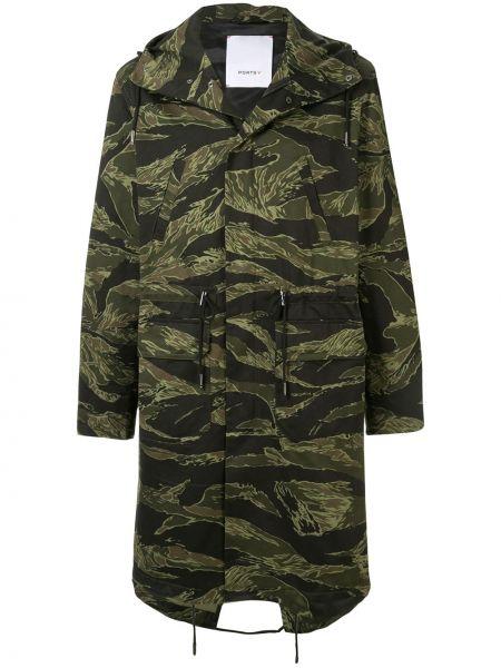 Długi płaszcz z kapturem z kieszeniami Ports V