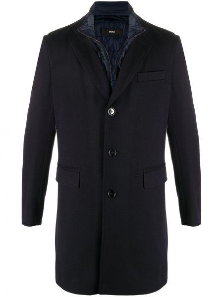 Синее шерстяное длинное пальто с воротником Boss Hugo Boss