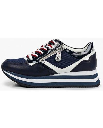 Синие кожаные кроссовки Tamaris