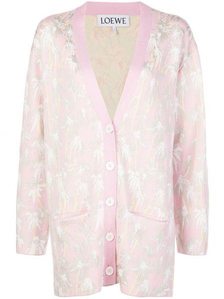 Розовый кардиган с карманами из вискозы свободного кроя Loewe