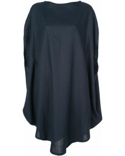 Свободное темно-синее льняное платье макси The Celect