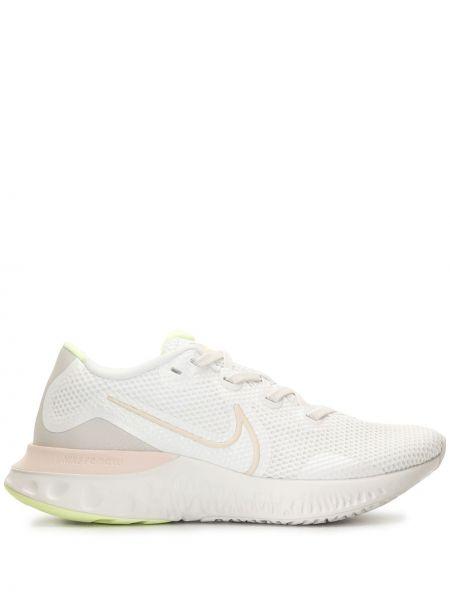 Koronkowa biały sneakersy na sznurowadłach okrągły Nike