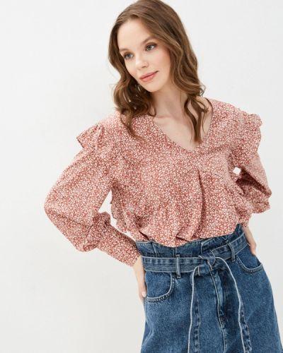 Коричневая блузка с оборками Bruebeck