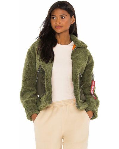 Зеленая куртка милитари из искусственного меха Alpha Industries