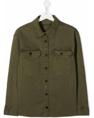 Зеленая прямая рубашка с воротником с вышивкой Zadig & Voltaire Kids