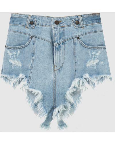 Джинсовые шорты с бахромой - голубые Retrofete