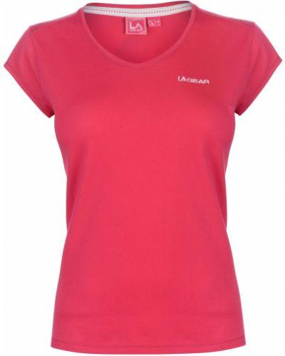Różowy t-shirt bawełniany z dekoltem w serek La Gear