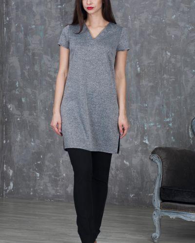 Блузка с коротким рукавом с V-образным вырезом меланж азалия