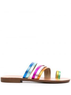 Brązowe sandały na obcasie skorzane Kurt Geiger London