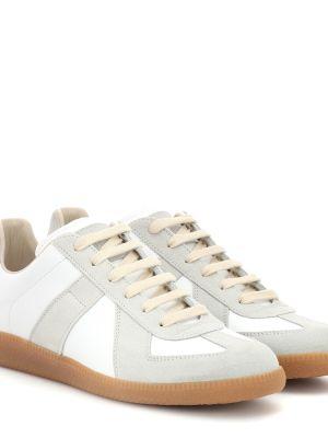 Кожаные кроссовки замшевые белый Maison Margiela