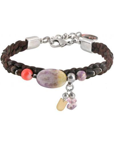 Кожаный браслет с аметистом с перьями Nature Bijoux