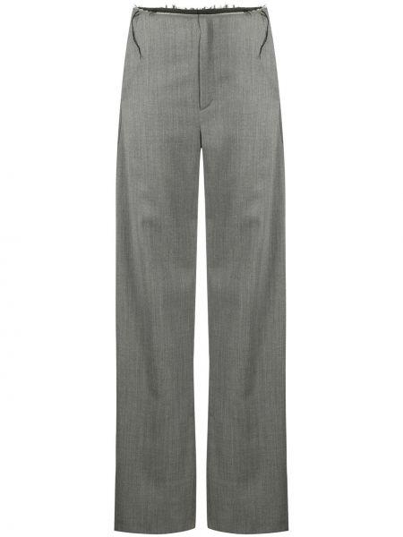 Шерстяные серые свободные брюки с карманами свободного кроя Litkovskaya
