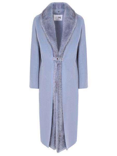 Шерстяное пальто с воротником с карманами с декоративной отделкой Manzoni 24