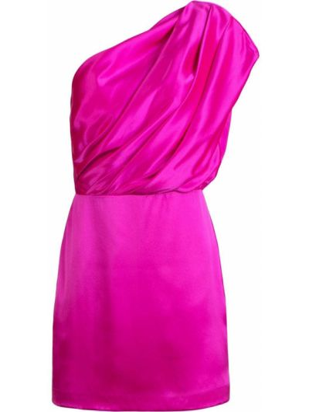 Приталенное сатиновое розовое платье мини с декоративной отделкой Michelle Mason