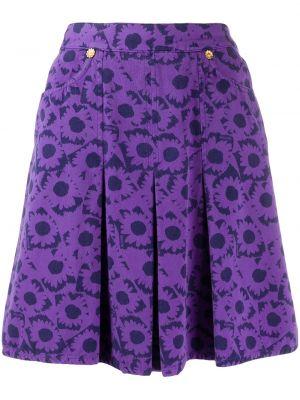 Золотистая хлопковая фиолетовая юбка с карманами Moschino Pre-owned
