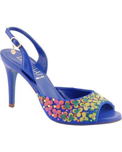 Синие босоножки на каблуке Loriblu
