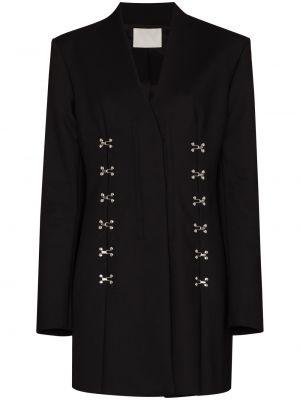 Хлопковый черный удлиненный пиджак с карманами Dion Lee