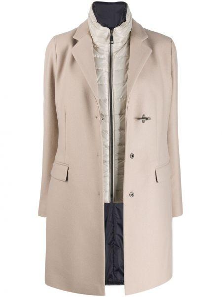 Длинное пальто без воротника шерстяное Fay
