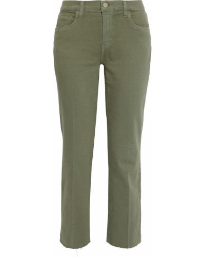 Хлопковые синие укороченные джинсы с поясом L'agence