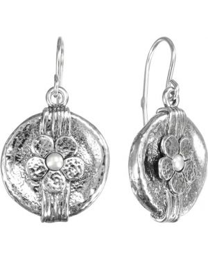 Серебряные серьги с жемчугом французский Den'o