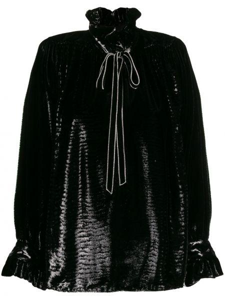 Bluzka z jedwabiu - czarna Saint Laurent