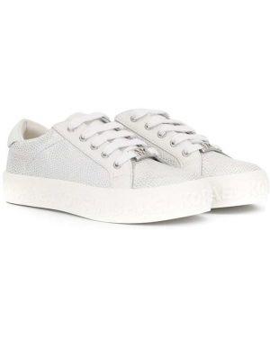 Белые кеды металлические на шнуровке на плоской подошве Michael Kors Kids