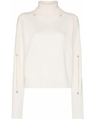Белый шерстяной тонкий свитер в рубчик Christopher Kane