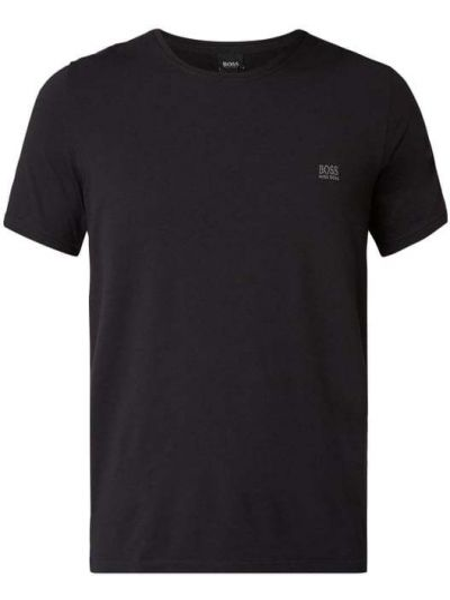 Czarna piżama z koszulą bawełniana krótki rękaw Boss