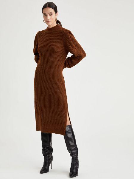 Вязаное платье макси - коричневое Defacto